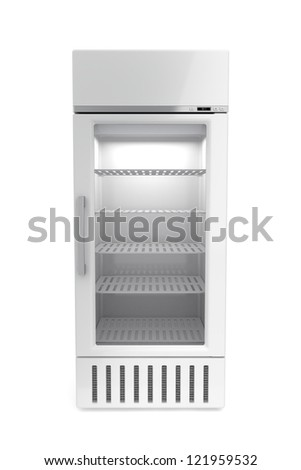 Market refrigerator on white background - stock photo