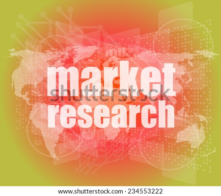 market research word on touch screen, modern virtual technology background - stock photo