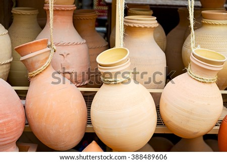market sale manufacturing container in    oman muscat the old pottery  - stock photo