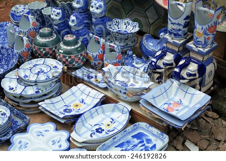 Market selling ceramics  - stock photo