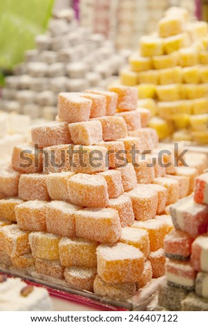 Market selling turkish delight sweets. - stock photo