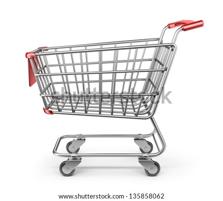 Market shopping cart 3D. Isolated on white background - stock photo