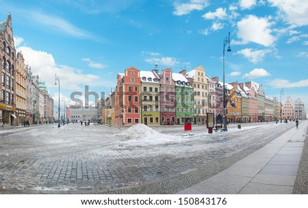 Market Square (Rynek Glowny) in Wroclaw, Poland - stock photo