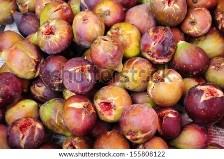 Market stall with ripe figs in Batumi - stock photo