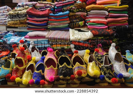 Market stall with turkish shoes at Grand Bazaar in Istanbul, - stock photo