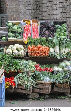 Market Stall With Varaity of Organic Vegetables - stock photo