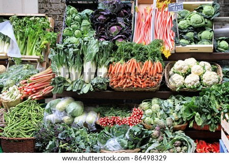 Market stall with varaity of organically grown vegetables - stock photo