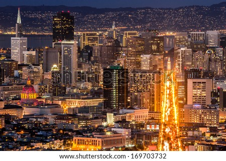 Market Street and downtown San Francisco, seen from Twin Peaks. - stock photo
