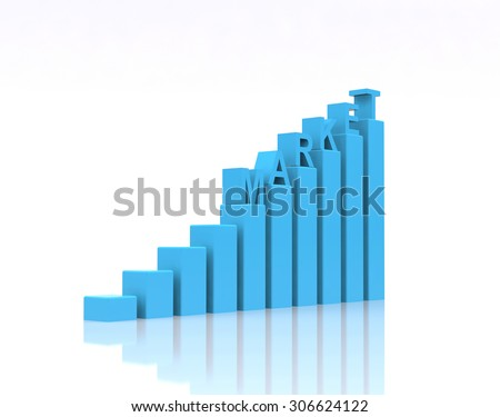 Market text on growth chart. - stock photo