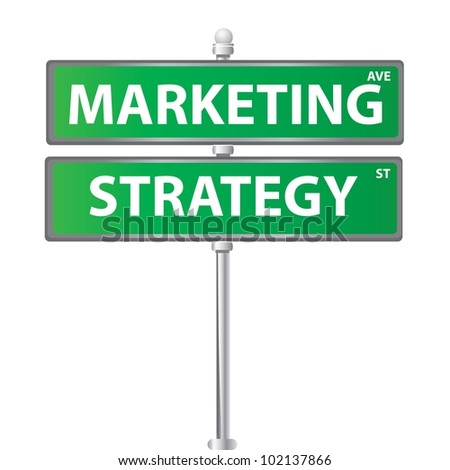 Marketing and strategy signpost on white background