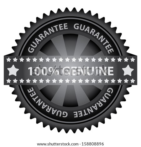 Marketing Campaign, Promotion or Business Concept Present By Black Glossy Badge With 100 Percent Genuine Label With Guarantee Text Around Isolated on White Background  - stock photo