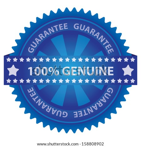 Marketing Campaign, Promotion or Business Concept Present By Blue Glossy Badge With 100 Percent Genuine Label With Guarantee Text Around Isolated on White Background  - stock photo