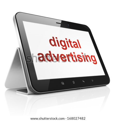 Marketing concept: black tablet pc computer with text Digital Advertising on display. Modern portable touch pad on White background, 3d render - stock photo