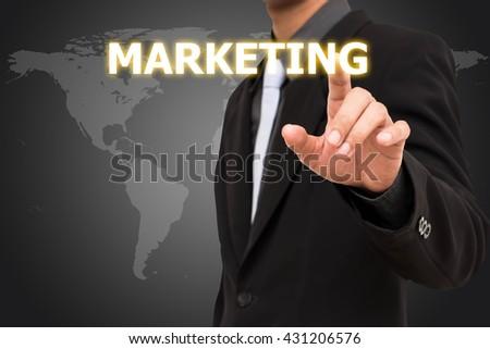 Marketing concept  business man selecting virtual interface. - stock photo