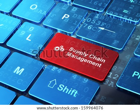 Marketing concept: computer keyboard with Gears icon and word Supply Chain Management on enter button background, 3d render - stock photo