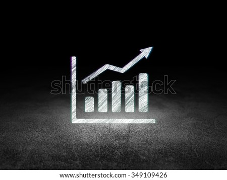 Marketing concept: Glowing Growth Graph icon in grunge dark room with Dirty Floor, black background