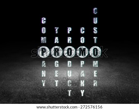 Marketing concept: Glowing word Promo in solving Crossword Puzzle in grunge dark room with Dirty Floor, black background, 3d render - stock photo