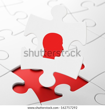 Marketing concept: Head on White puzzle pieces background, 3d render