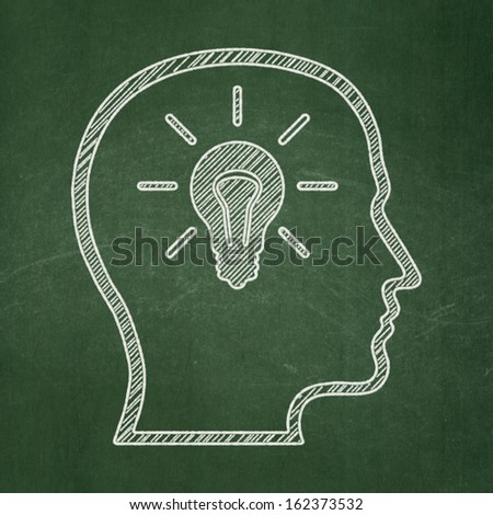 Marketing concept: Head With Lightbulb icon on Green chalkboard background, 3d render