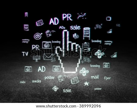 Marketing concept: Mouse Cursor in grunge dark room - stock photo