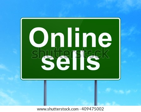 Marketing concept: Online Sells on green road highway sign, clear blue sky background, 3D rendering - stock photo