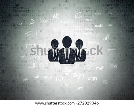 Marketing concept: Painted black Business People icon on Digital Paper background with  Hand Drawn Marketing Icons, 3d render - stock photo