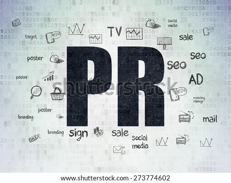 Marketing concept: Painted black text PR on Digital Paper background with  Hand Drawn Marketing Icons, 3d render - stock photo