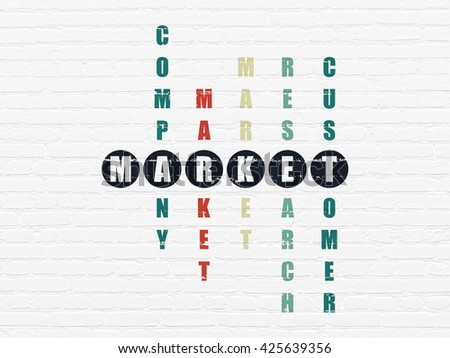 Marketing concept: Painted black word Market in solving Crossword Puzzle - stock photo