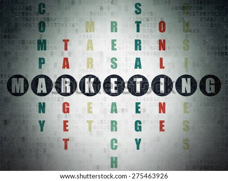 Marketing concept: Painted black word Marketing in solving Crossword Puzzle on Digital Paper background, 3d render - stock photo
