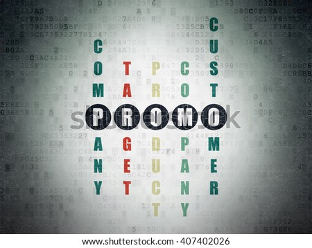 Marketing concept: Painted black word Promo in solving Crossword Puzzle on Digital Paper background - stock photo
