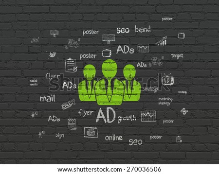 Marketing concept: Painted green Business People icon on Black Brick wall background with  Hand Drawn Marketing Icons, 3d render - stock photo