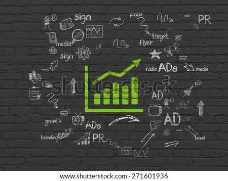 Marketing concept: Painted green Growth Graph icon on Black Brick wall background with Scheme Of Hand Drawn Marketing Icons, 3d render - stock photo