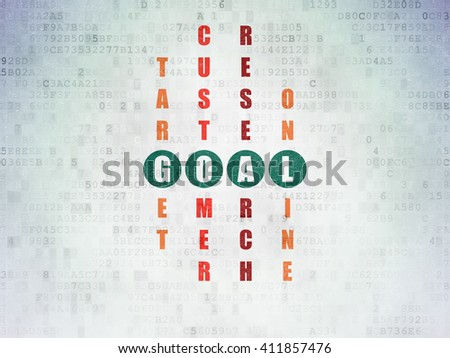 Marketing concept: Painted green word Goal in solving Crossword Puzzle on Digital Data Paper background - stock photo