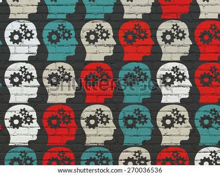 Marketing concept: Painted multicolor Head With Gears icons on Black Brick wall background, 3d render - stock photo