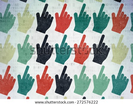 Marketing concept: Painted multicolor Mouse Cursor icons on Digital Paper background, 3d render - stock photo