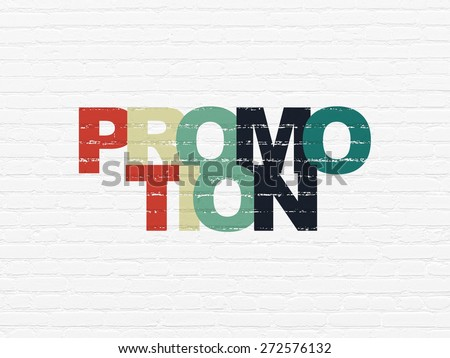 Marketing concept: Painted multicolor text Promotion on White Brick wall background, 3d render