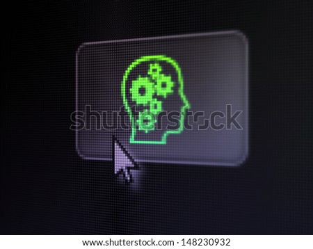 Marketing concept: pixelated Head With Gears on button with Arrow cursor on digital computer screen, selected focus 3d render - stock photo
