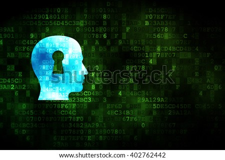 Marketing concept: pixelated Head With Keyhole icon on digital background, empty copyspace for card, text, advertising - stock photo