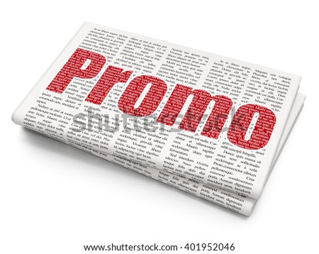 Marketing concept: Pixelated red text Promo on Newspaper background, 3D rendering