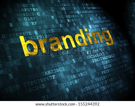 Marketing concept: pixelated words Branding on digital background, 3d render