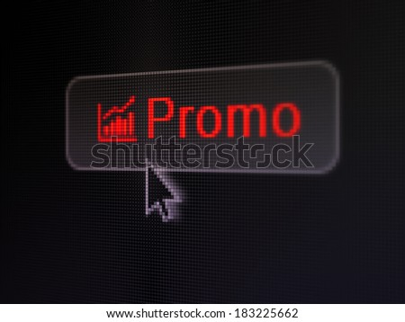 Marketing concept: pixelated words Promo and Growth Graph icon on button withArrow cursor on digital computer screen background, selected focus 3d render - stock photo