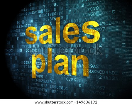 Marketing concept: pixelated words Sales Plan on digital background, 3d render