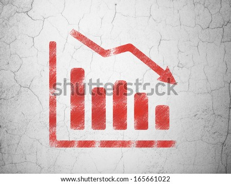 Marketing concept: Red Decline Graph on textured concrete wall background, 3d render - stock photo