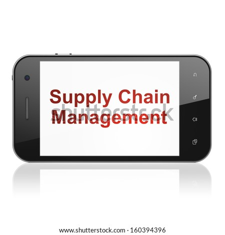 Marketing concept: smartphone with text Supply Chain Management on display. Mobile smart phone on White background, cell phone 3d render - stock photo