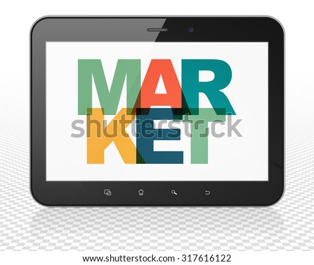 Marketing concept: Tablet Pc Computer with Painted multicolor text Market on display