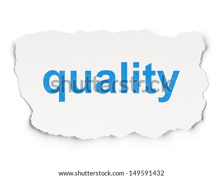 Marketing concept: torn paper with words Quality on Paper background, 3d render - stock photo