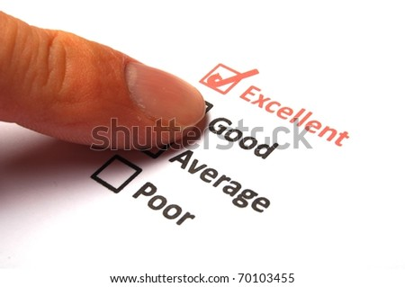 marketing concept with checkbox from questionnaire and red pencil - stock photo
