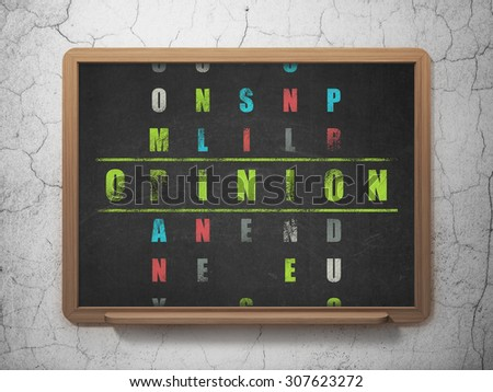 Marketing concept: word Opinion in solving Crossword Puzzle - stock photo