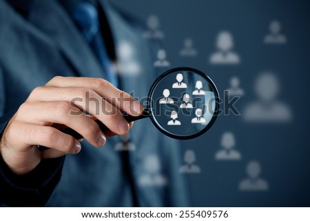 Marketing customer target audience concept. Human resources officer choose employees standing out of the crowd.  - stock photo