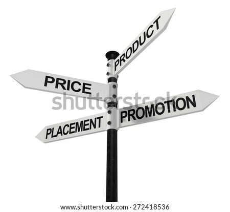 Marketing. 3D. The 4 P's signpost - stock photo
